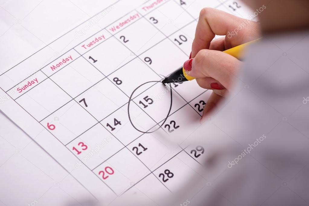 Close-up photo of calendar with a datum circled