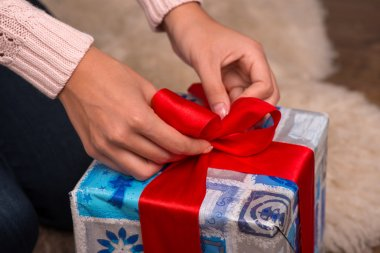 Beautiful girl pending Christmas