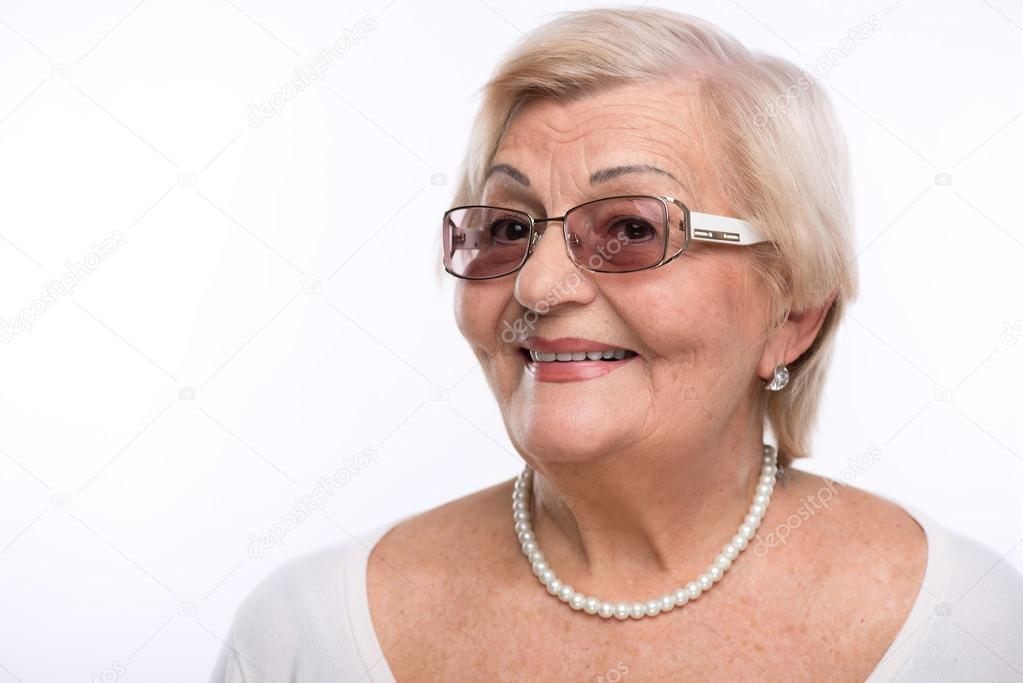 Grandmother posing in sunglasses