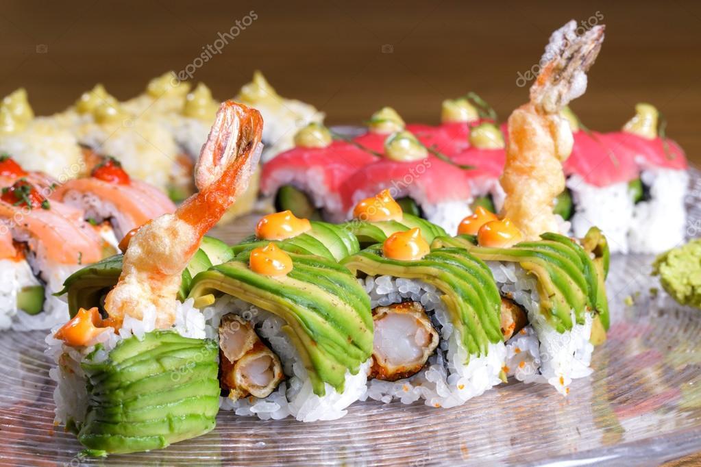 Japanese sushi rolls set