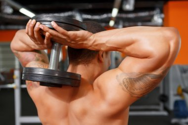 Man holding dumbbells behind his head