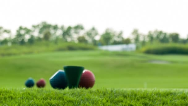 Close-up of golf stuff on field