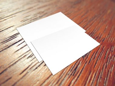 Two blank white papers on wooden background stock vector