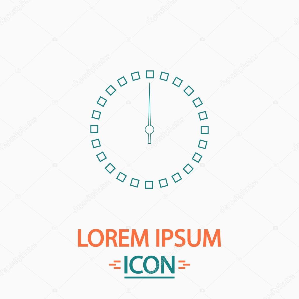 055e7fe82101 Dial de reloj plano icono delgada línea sobre fondo blanco. Pictogramas  vectoriales — Vector de ...