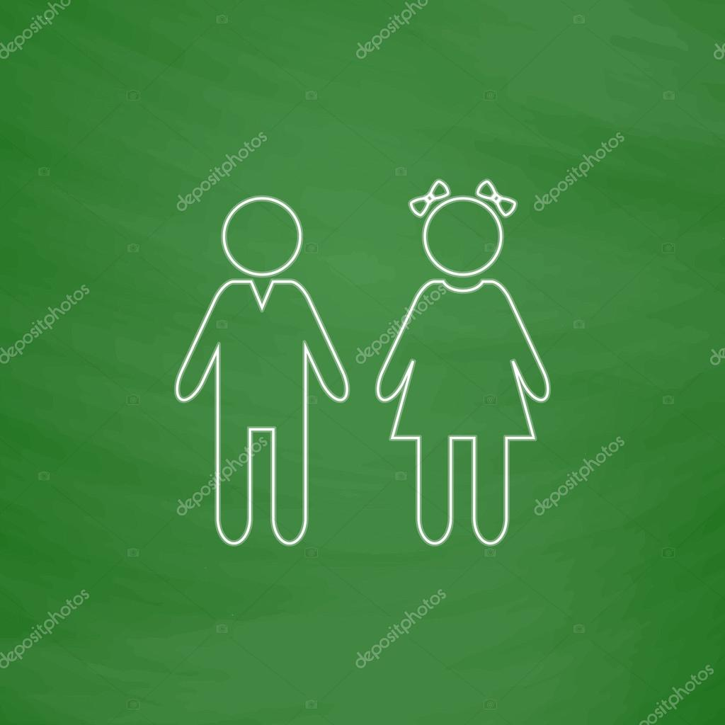 Girl And Boy Computer Symbol Stock Vector Burntime555 119184214