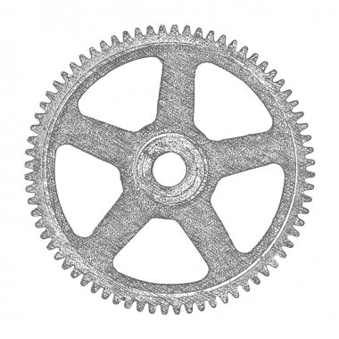 Hand drawn gear. Vector illustration.