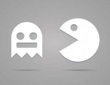 Paper Pacman, ghosts, 8bit retro game icons set