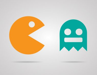 Pacman, ghosts, 8bit retro color game icons set