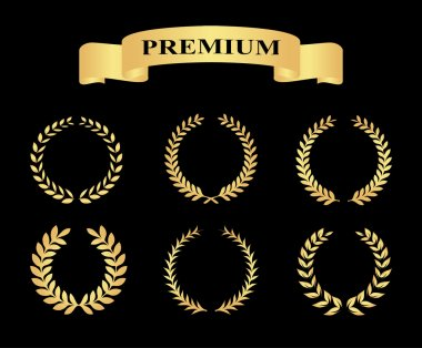 Set of golden silhouette circular laurel foliate