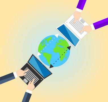 Concept Data sharing between businessman