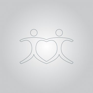 connecting people as a heart - pair