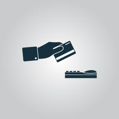 Hand swiping a credit card symbol