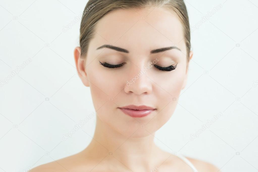 Beauty Model With Perfect Fresh Skin And Long Eyelashes Stock
