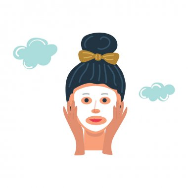 Woman with cosmetic face mask sheet, skin care, beauty skin concept. Flat illustration. icon