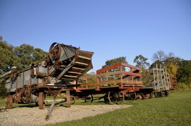 Threshing and wagons ready for harvest