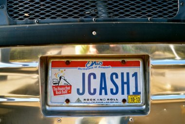 Johnny Cash bus license plate