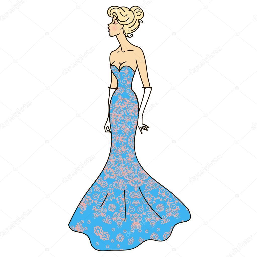 e99feebc09b Рисунок  красивые платья. Красивая девушка в вечернем платье ...