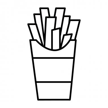 Outline french fry isolated on white background. Coloring page. Vector illustration icon