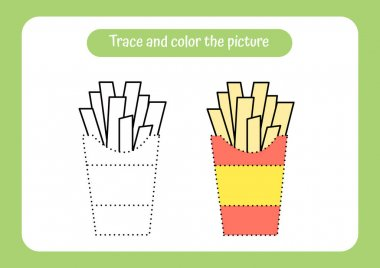 French fry. Trace and color the picture. Educational game for children. Handwriting and drawing practice. Food theme activity for toddlers, kids. Vector illustration. icon