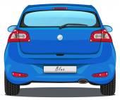 auto - pohled zezadu - modrý
