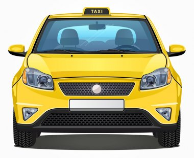 Vector Yellow Taxi Car - Front view - Visible interior version