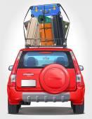 Fotografie Vektor-Reisen-Auto - Rückansicht - sichtbar Interieurausführung