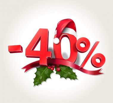 Vector illustration of Christmas sale numbers - minus 40 percent of price - Christmas discount 40% with Santa Claus hat on zero, with mistletoe leaves and red ribbon, isolated on white background clip art vector