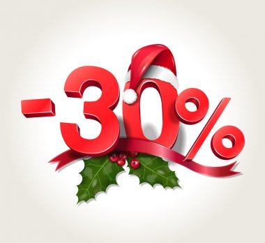 Vector illustration of Christmas sale numbers - minus 30 percent of price - Christmas discount 30% with Santa Claus hat on zero, with mistletoe leaves and red ribbon, isolated on white background clip art vector