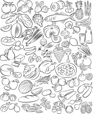 Vector illustration of food collection in black and white stock vector