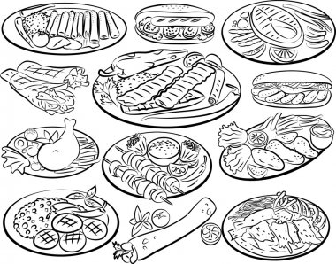 Vector illustration of kebab collection in line art mode clip art vector