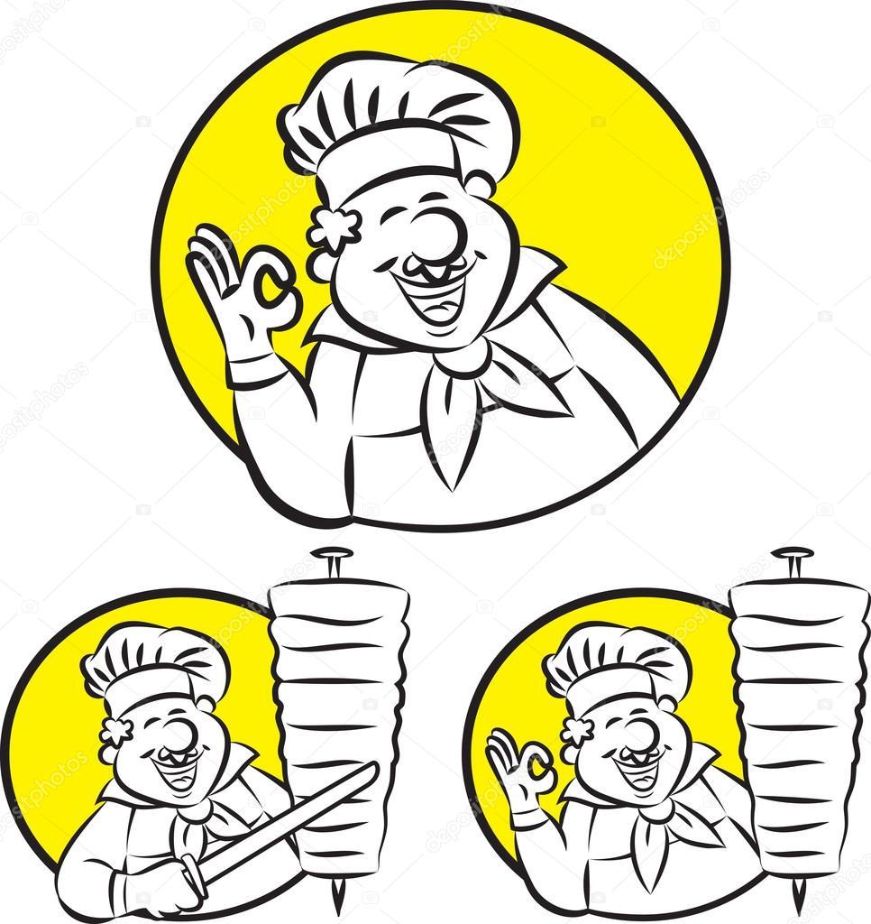 Cuisinier de doner kebab image vectorielle mahmuttibet for Cuisinier kebab