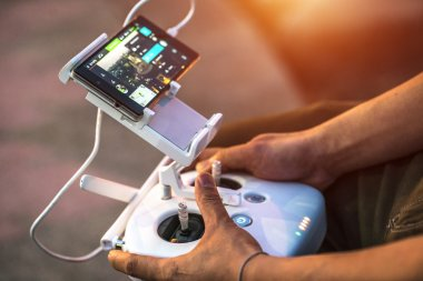 close-up, remote drones hands with men. Forcible drones