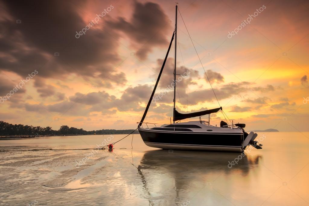 luxury yacht on standing coast