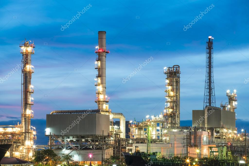 refinery plant with evening lights