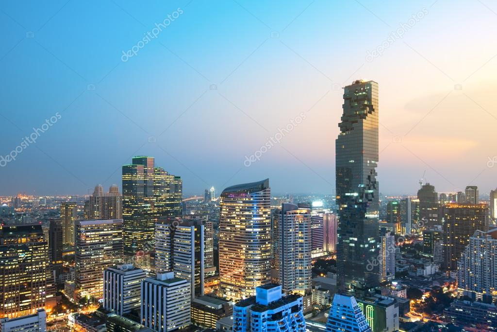 Aerial view of Bangkok, a modern office building, a condo in the
