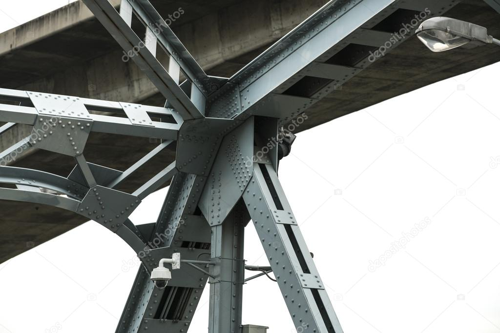 Support above the bridge, steel structure close-up.