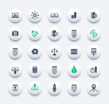25 finance, investing icons, venture capital, shares, stocks, investor, funds, money, investment, income  round modern icons set, vector illustration