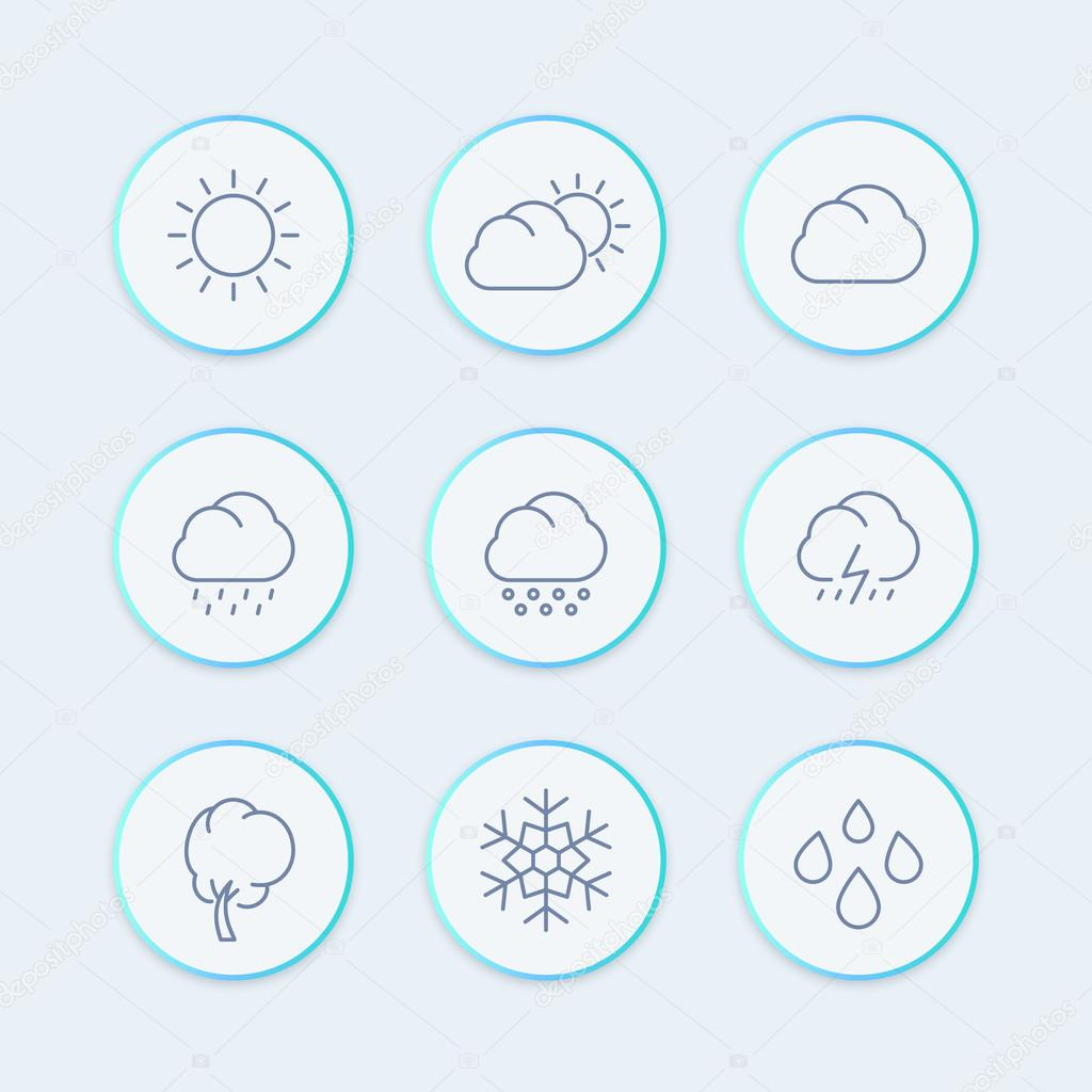 Weather Line Icons Weather Forecast Elements Sunny Cloudy Weather