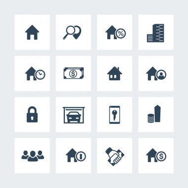 Real estate icons on squares, house sale, search, apartments, homes for rent, real estate pictograms, vector illustration