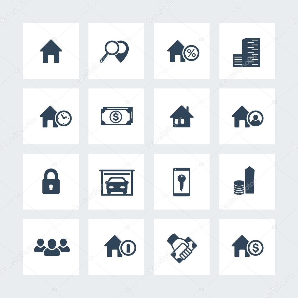Real Estate Icons On Squares, House Sale, Search