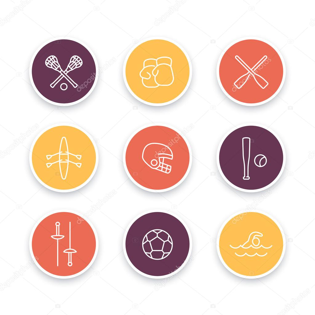 Sports And Games Line Icons Round Sports Symbols Boxing Fencing