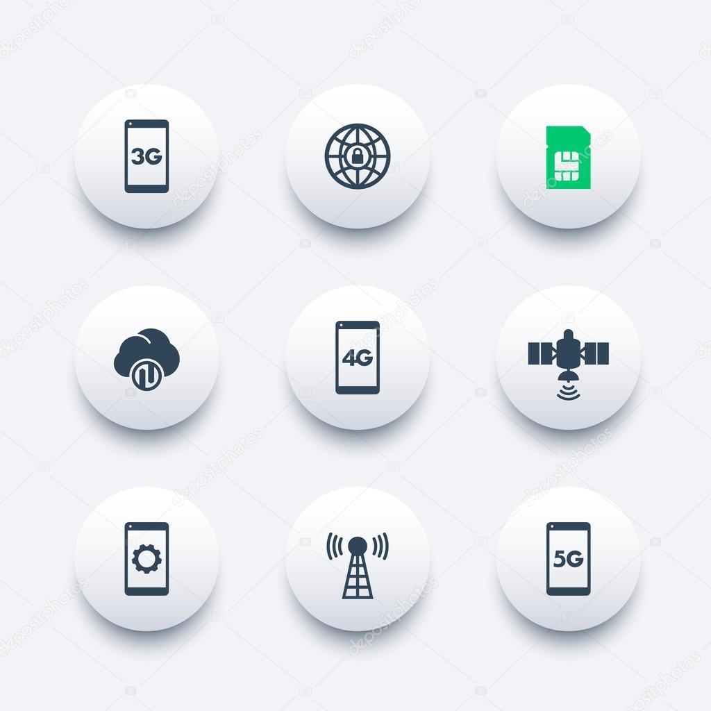 moderne Funktechnik Runde Icons, 4g Netz Piktogramme, mobile ...