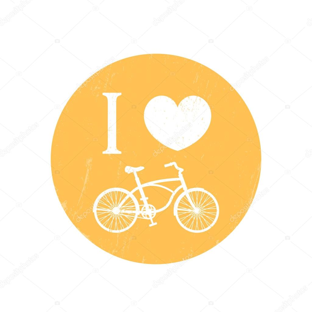 I Love Cycling Sign T Shirt Print With Vintage Bike Bicycle
