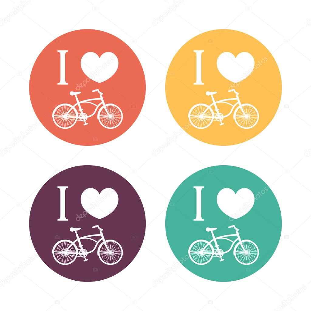 I Love Cycling Signs Color T Shirt Print With Vintage Bike Bicycle