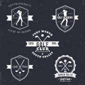 Fotografie Golf club, golf academy vintage emblems, logos, golfer, crossed golf clubs and ball, golf logo, badge, vector illustration