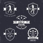 Golfclub, Golf Academy Vintage Embleme, Logos, Golfer, gekreuzte Golfschläger und Ball, Golf-Logo, Abzeichen, Vektorabbildung