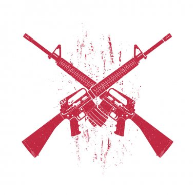 crossed assault rifles, two 5.56 mm automatic guns, red on white, vector illustration