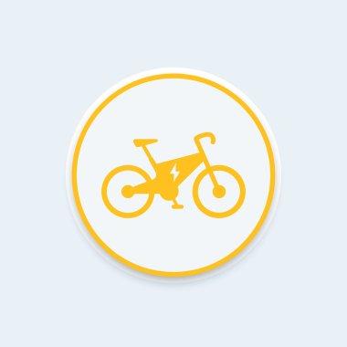 Electric bike icon, city ecologic transport, electric bike sign, round icon, vector illustration