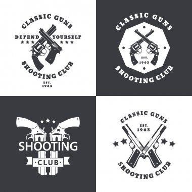 Shooting Club, vintage emblems with crossed revolvers, guns, pistols, in black and white, logo with handguns, pistols, vector