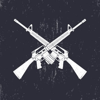 crossed M16 assault rifles, two 5.56 mm automatic guns, vector illustration
